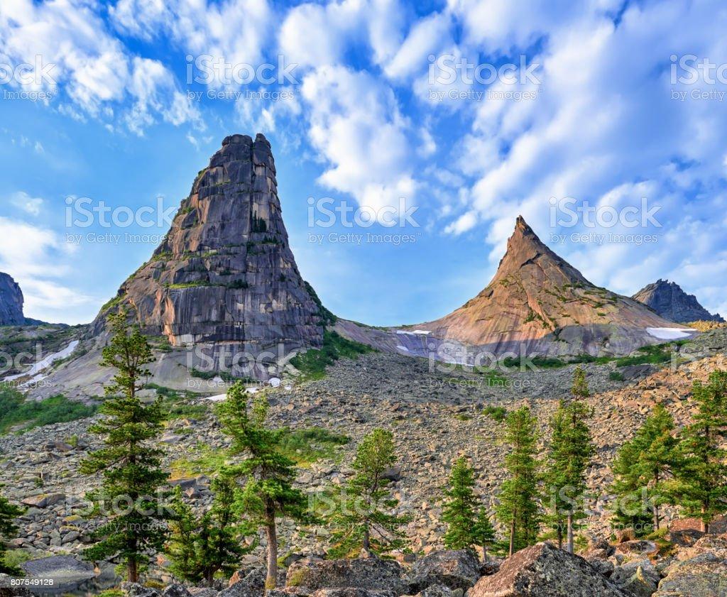 Two mountain peaks stock photo