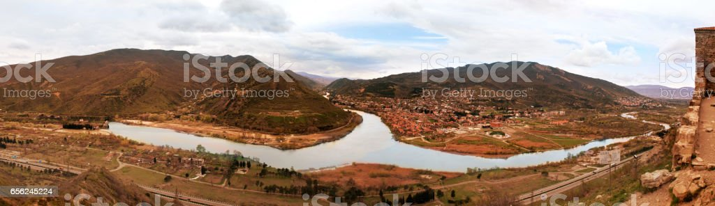 two mountain rivers Aragvi and Kura stock photo