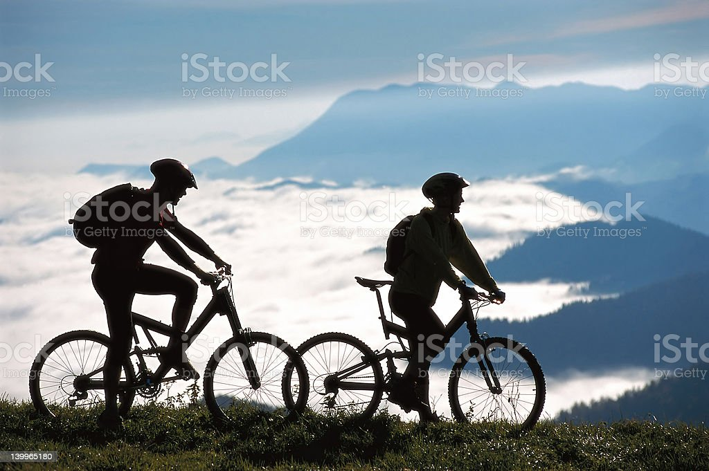 Two mountainbikers royalty-free stock photo
