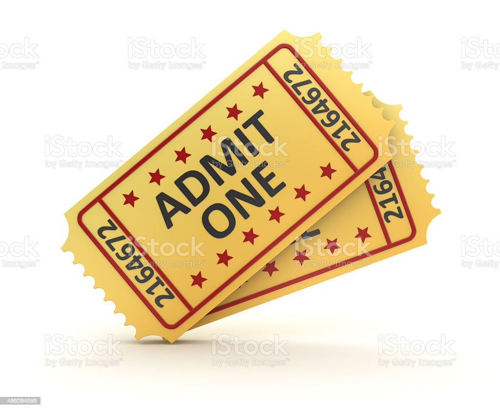 Two movie tickets that read admit one  stock photo