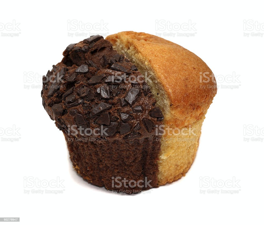 Two muffin pieces isolated on white royalty-free stock photo