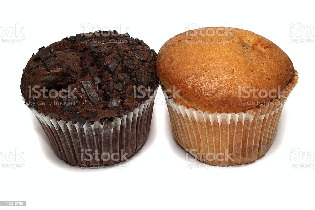 Two muffins isolated on white royalty-free stock photo