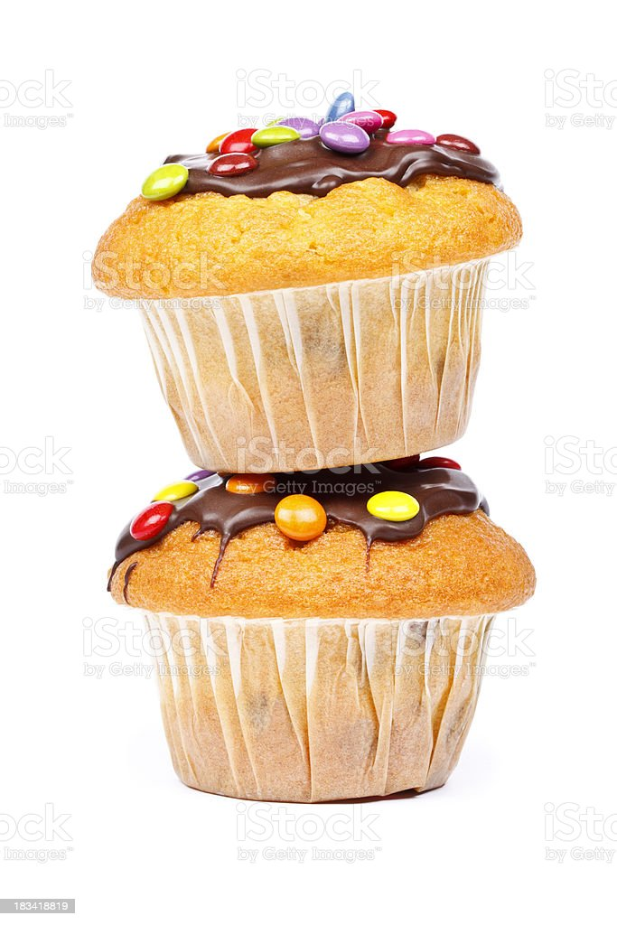 Two muffins with chocolate royalty-free stock photo