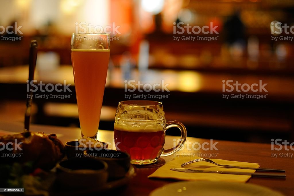 Two mugs of traditional Czech beer - Stock Image stock photo