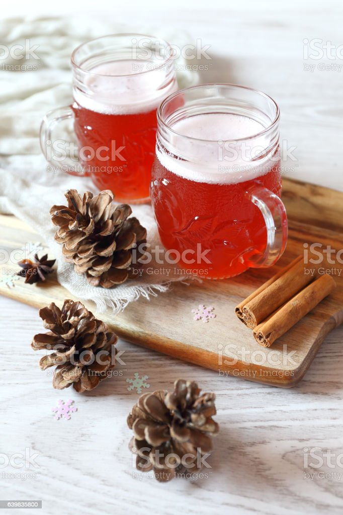 Two mugs of winter craft beer stock photo