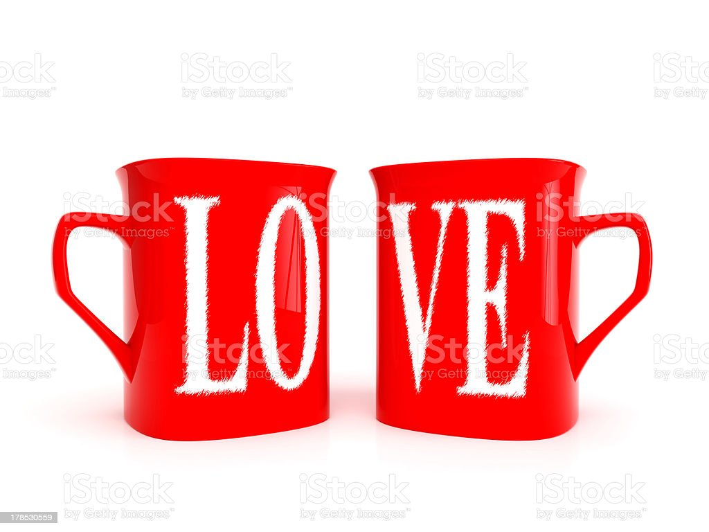 Two mugs with inscription love royalty-free stock photo