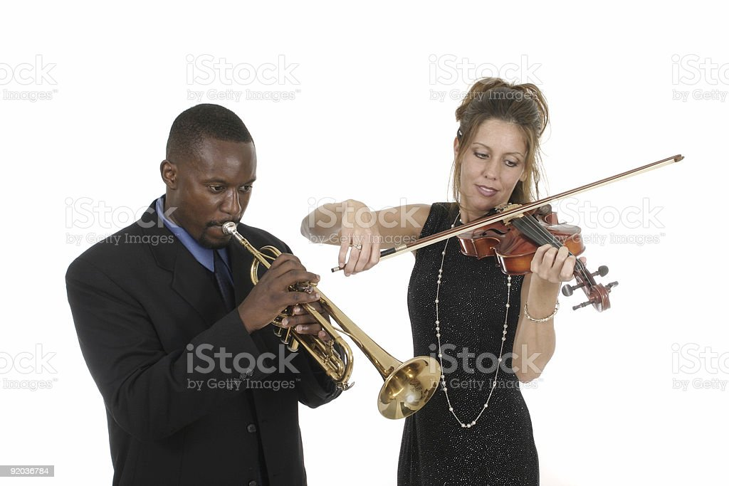 Two Musicians Playing royalty-free stock photo