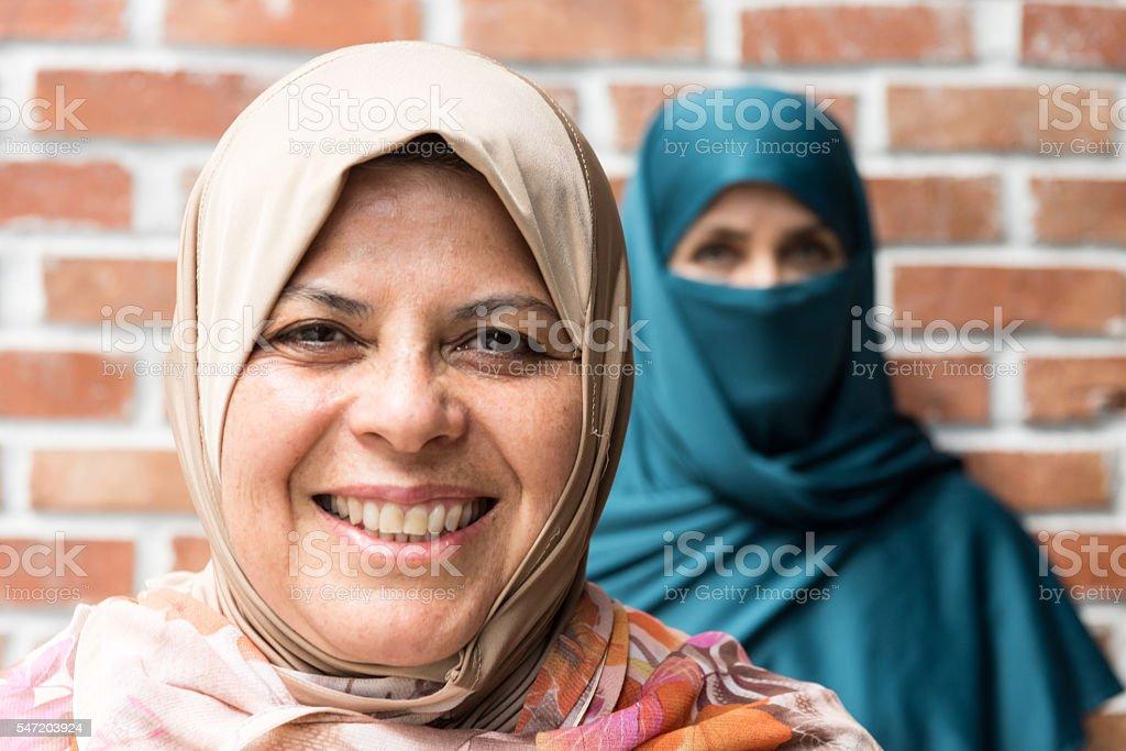Two muslim women stock photo