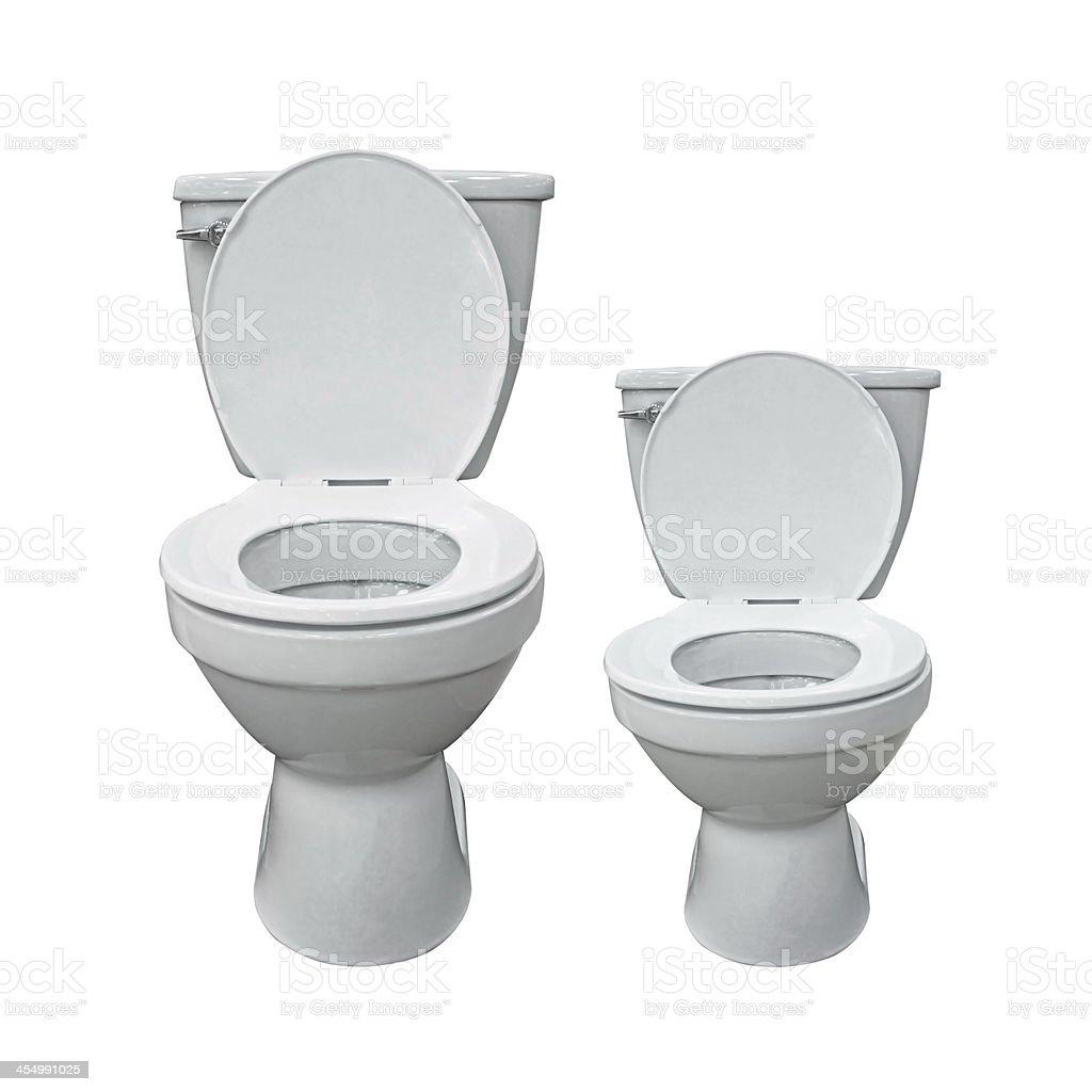 Two new toilet bowl isolated on white background stock photo