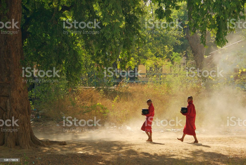 Two novice monks in the morning royalty-free stock photo