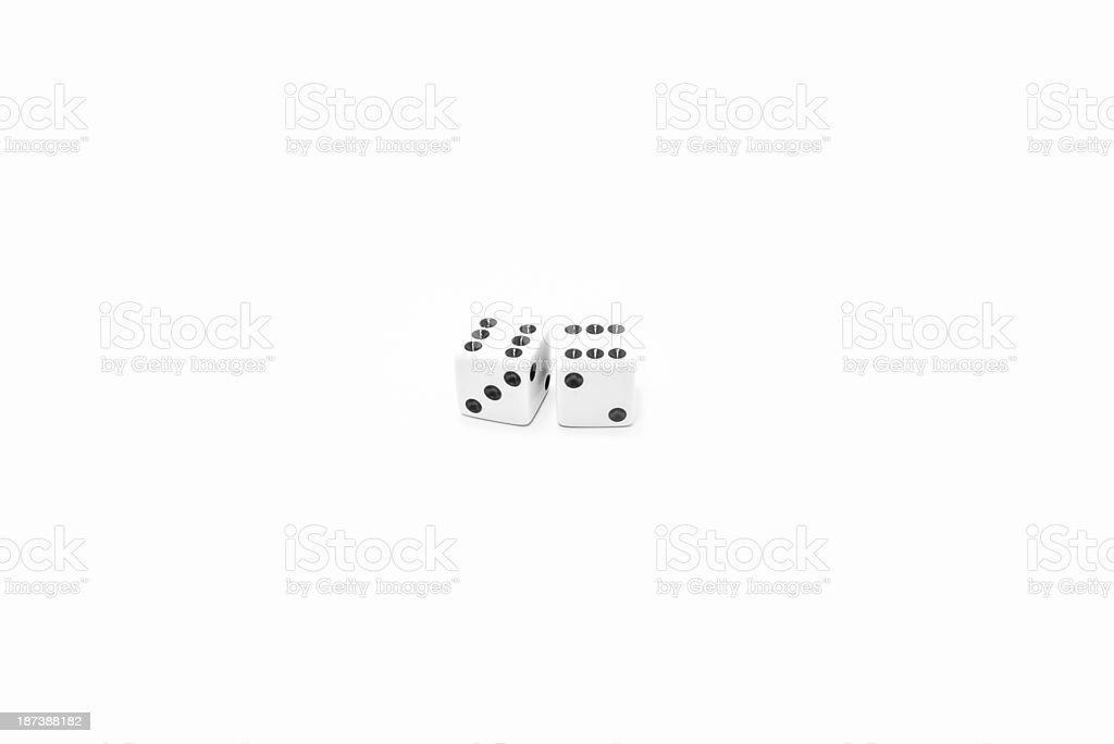 Two number six dices stock photo