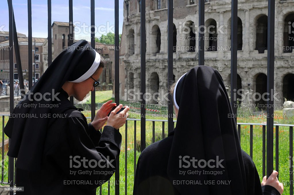 Two Nuns in Rome stock photo