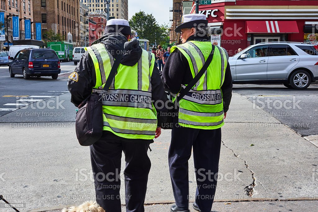 two nypd crossing guards stock photo