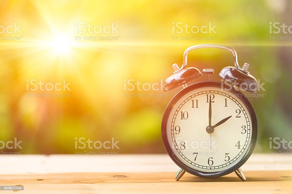 Two o'clock and Morning sun light effect. stock photo