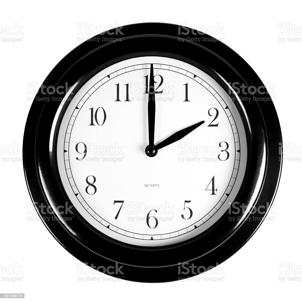 Two o'clock on the black wall clock stock photo