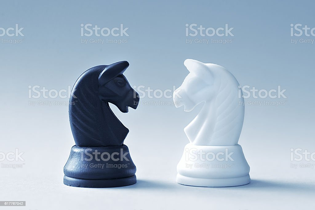 Two of chess knights on a light blue background stock photo