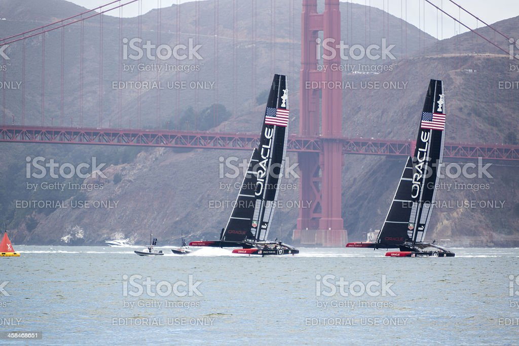 Two of Oracle Team USA's  America's Cup catamaran training stock photo