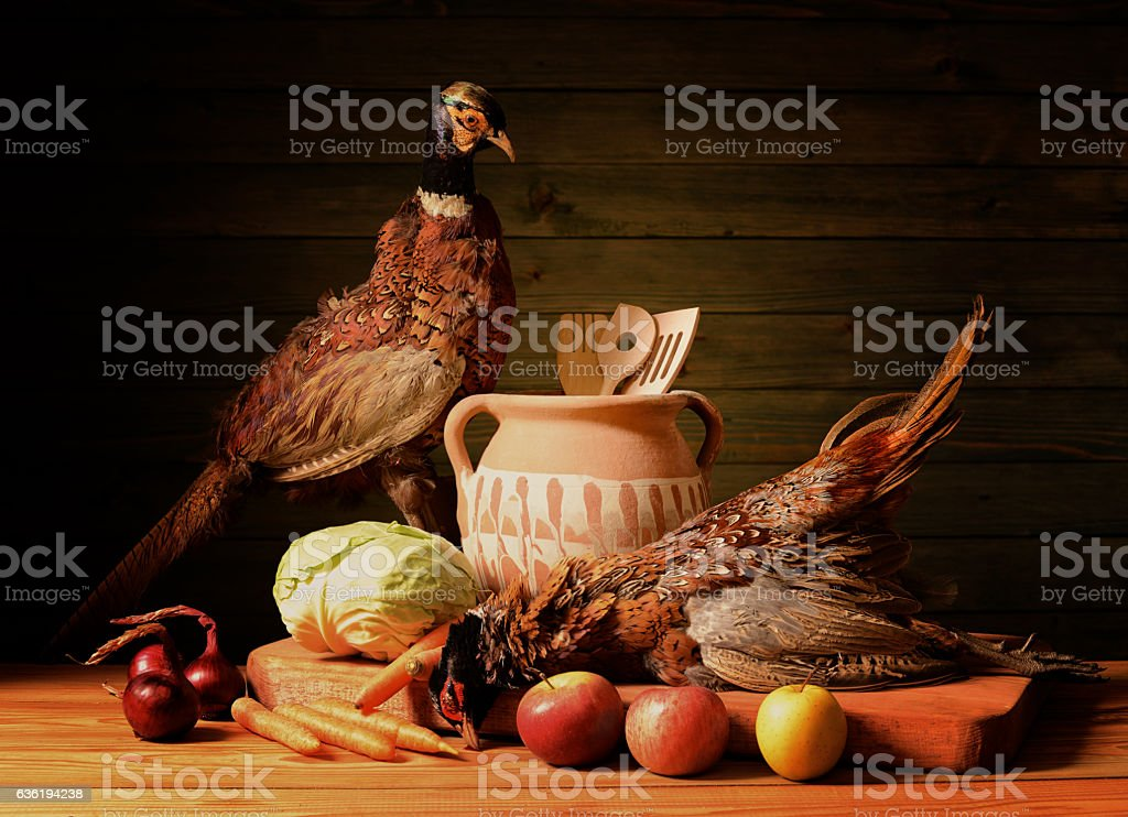 Two of pheasants, fruit, vegetables stock photo