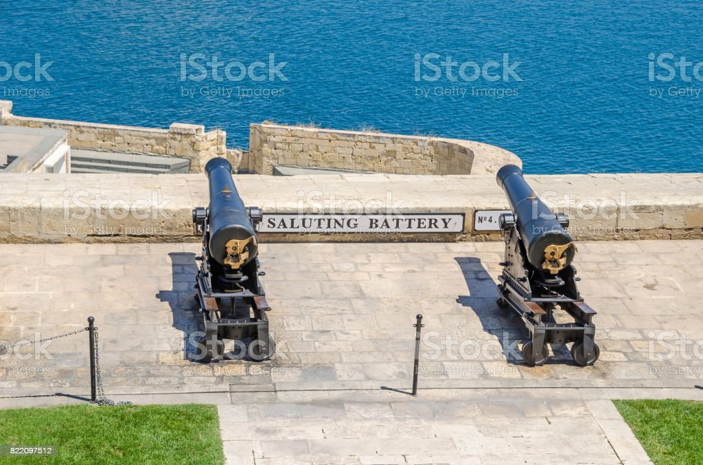 Two of the eight working ceremonial guns of the Saluting Battery  in Valletta stock photo
