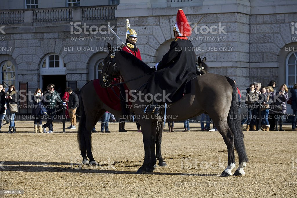 Two of the Household Cavalry at Horse Guards Parade royalty-free stock photo