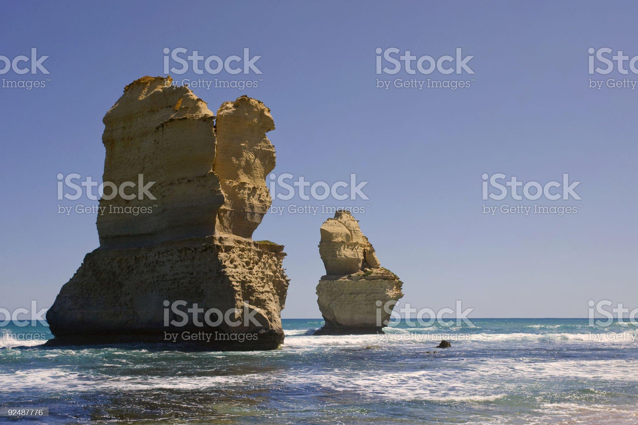 Two of the twelve apostles royalty-free stock photo
