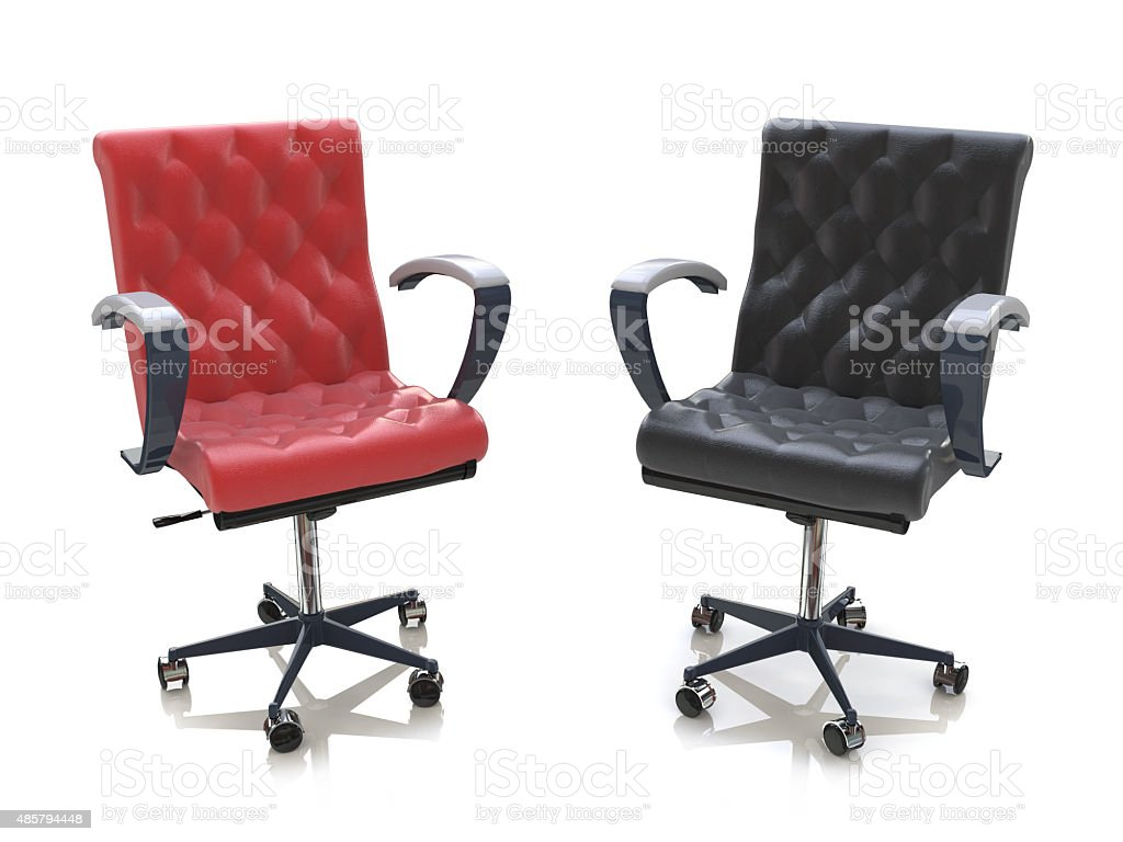 Two office chairs vector art illustration