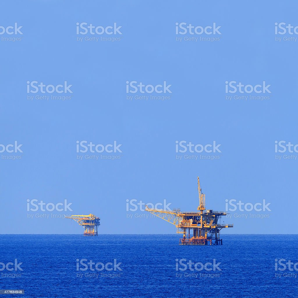 Two Offshore Production Platforms For Oil and Gas stock photo
