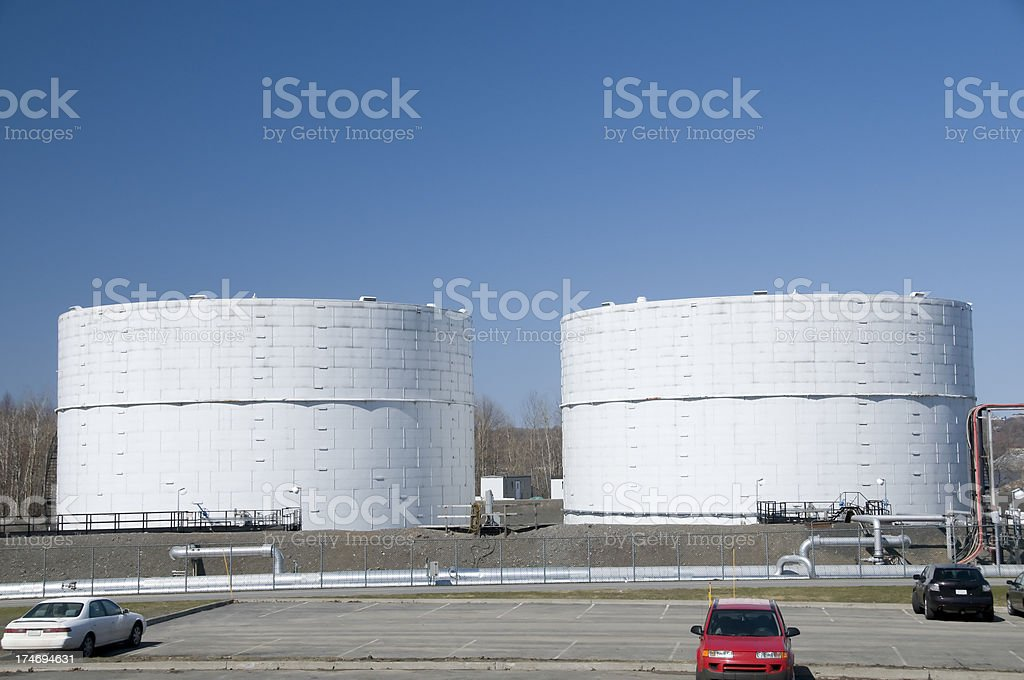 two oil reservoir royalty-free stock photo