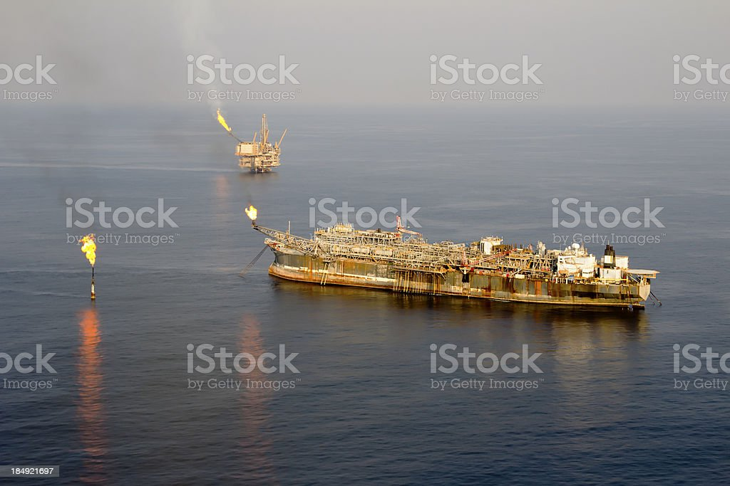 Two Oil Rigs stock photo