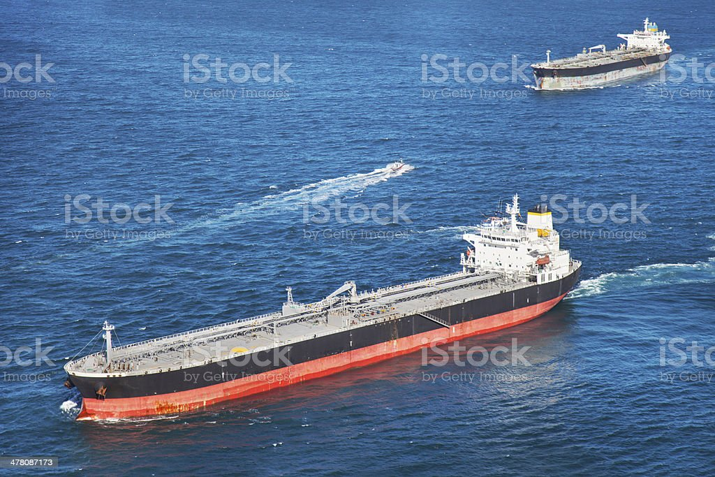 Two oil tankers stock photo