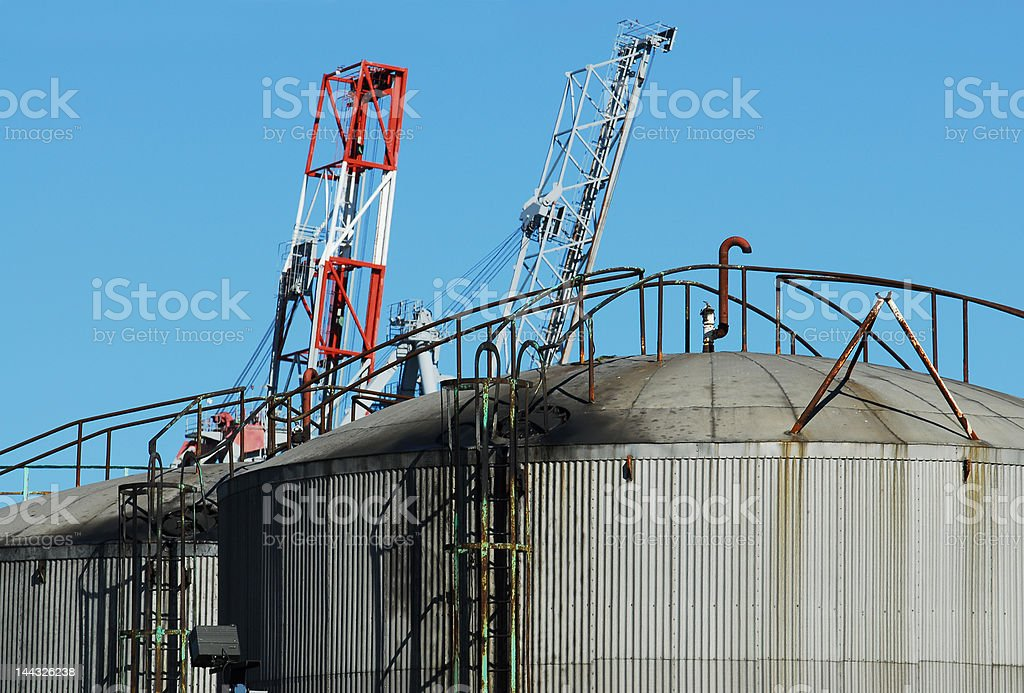 Two oil tanks royalty-free stock photo