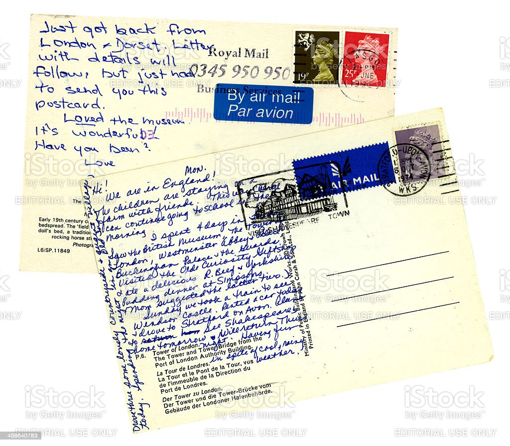 Two old air mail postcards sent from the UK royalty-free stock photo