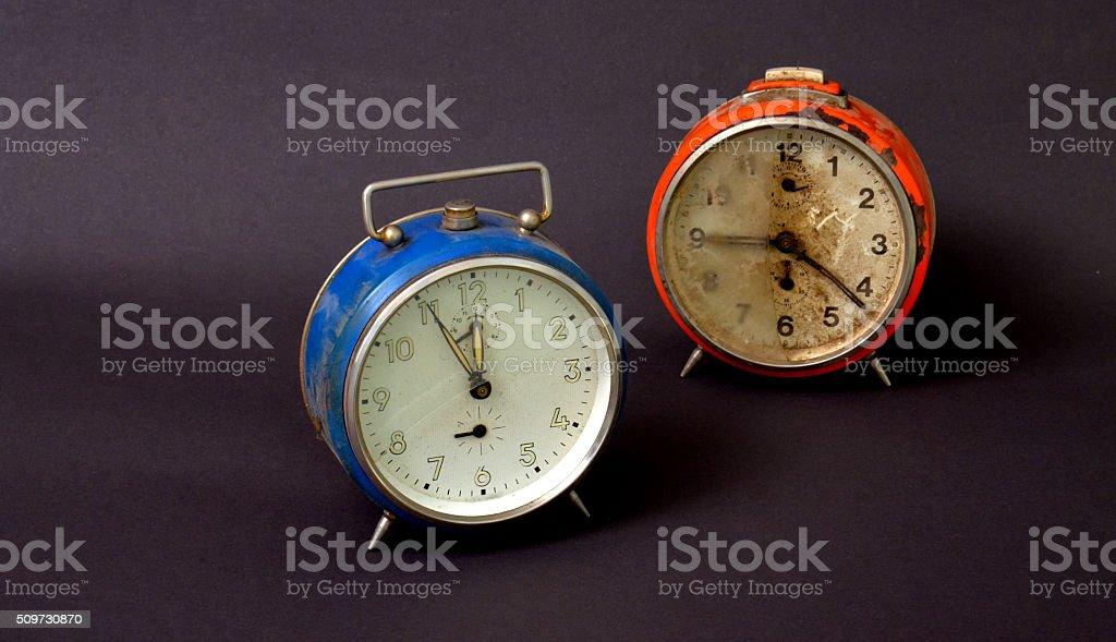 two old alarm clocks stock photo