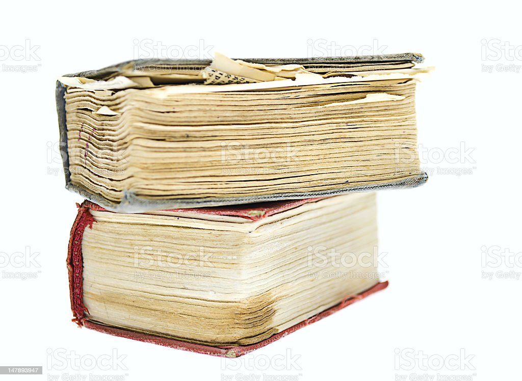 Two old books  isolated on white royalty-free stock photo