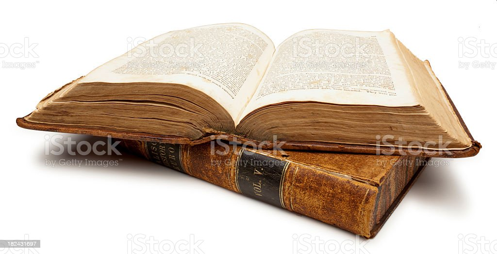 Two Old Books, One open. White Background, Clipping Path. stock photo