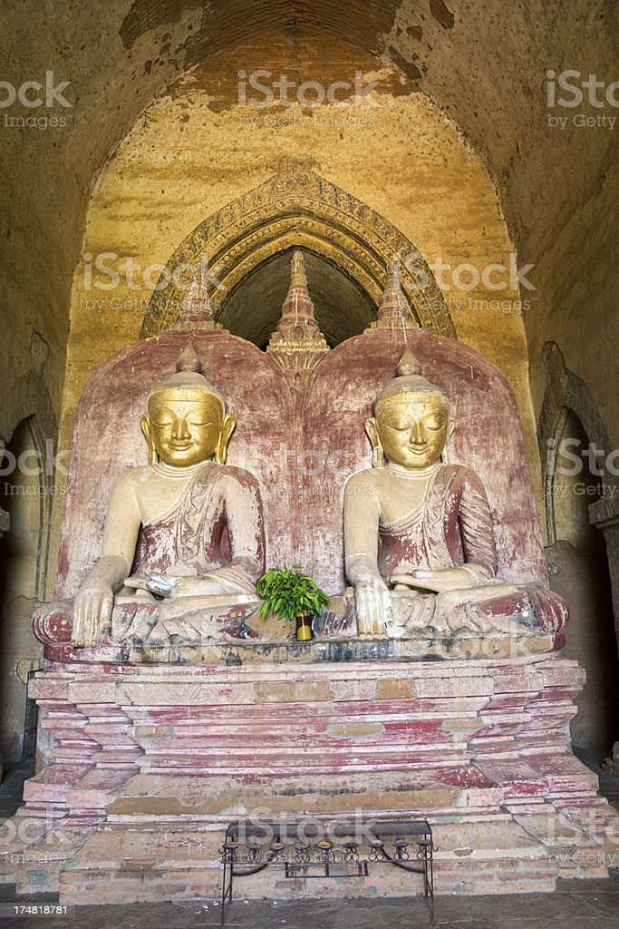 Two old Buddha statue in temple Bagan, Myanmar. royalty-free stock photo