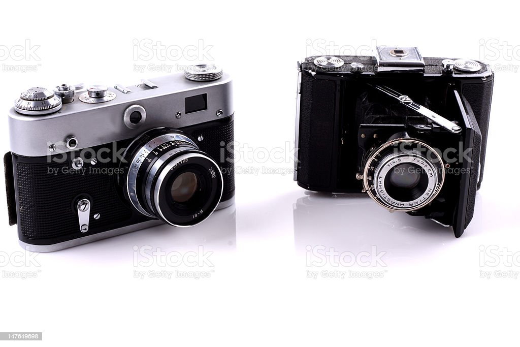 Two old cameras royalty-free stock photo