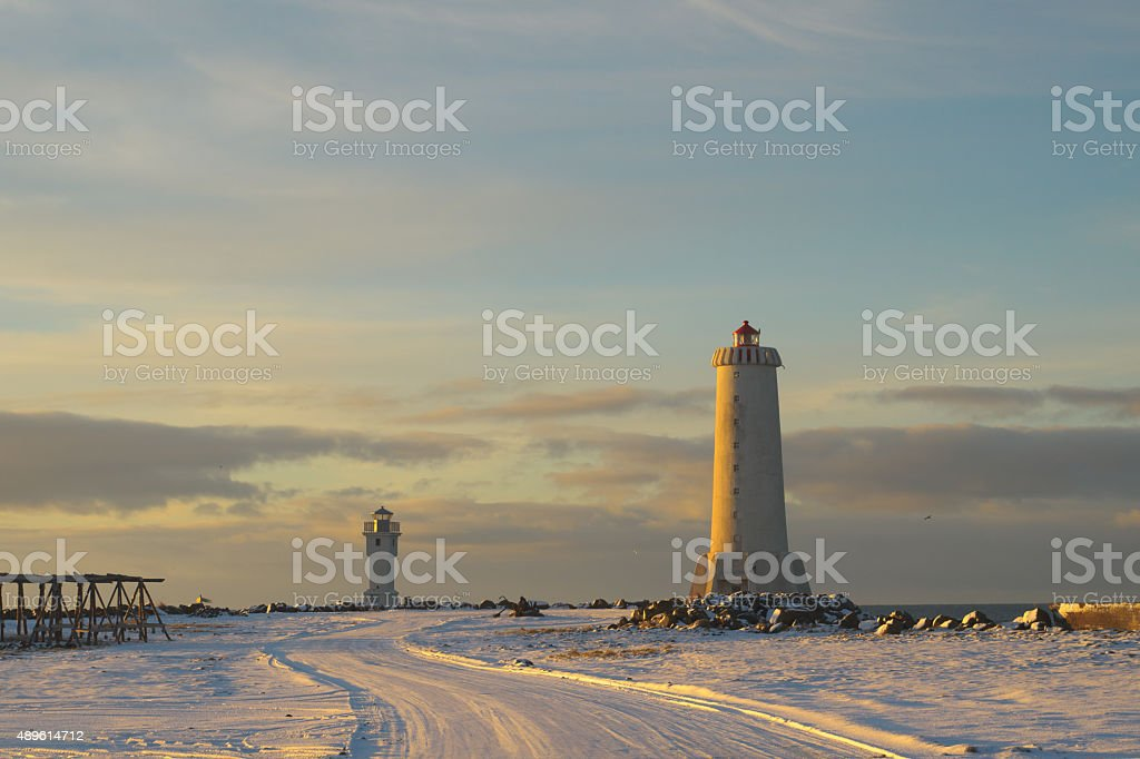 Two old concrete lighthouses in Akranes, Iceland stock photo
