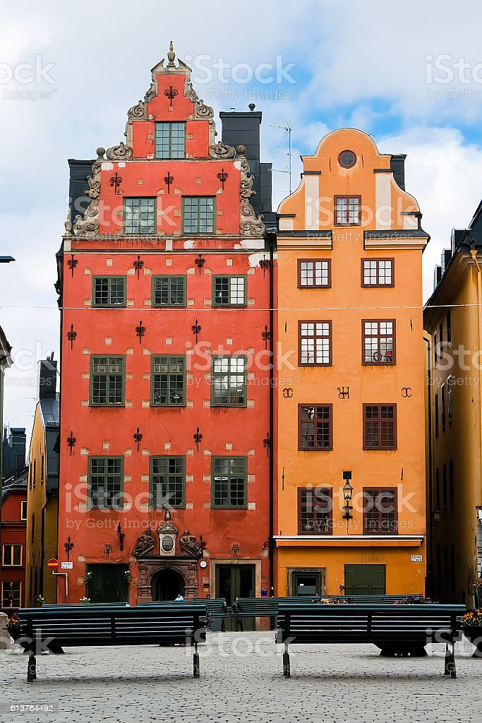 Two old houses in the old market square in Stockholm stock photo