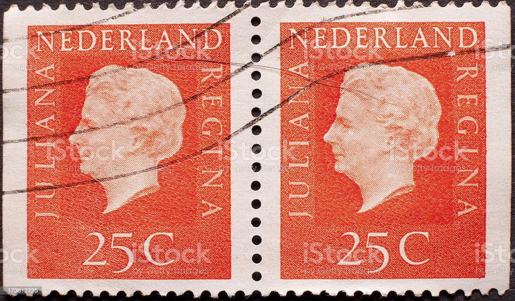 Two Old Postage Stamps from the Netherlands stock photo
