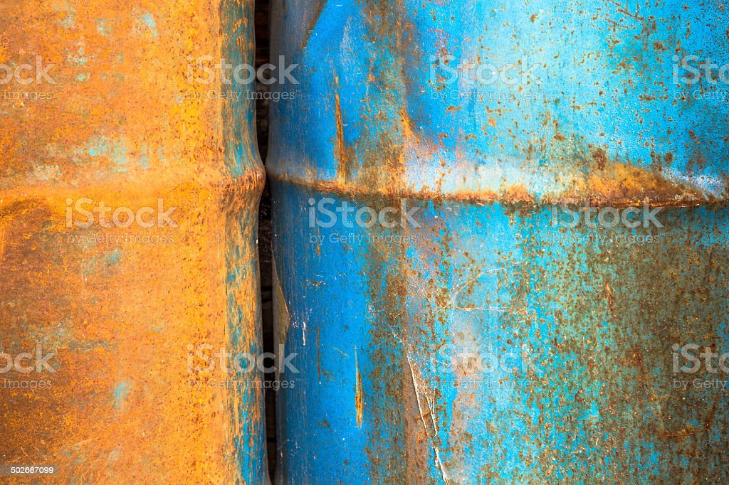 Two old rusty cans royalty-free stock photo