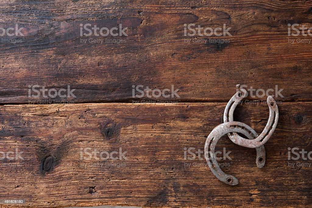 Two old rusty horseshoe stock photo
