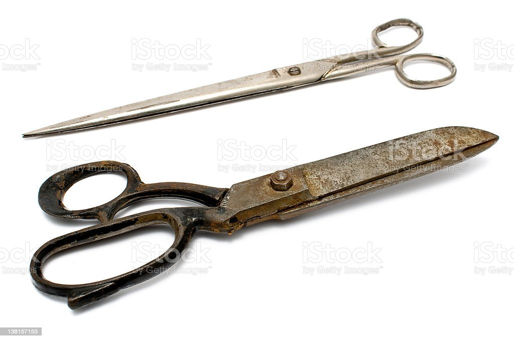 Two old rusty sewing scissors royalty-free stock photo