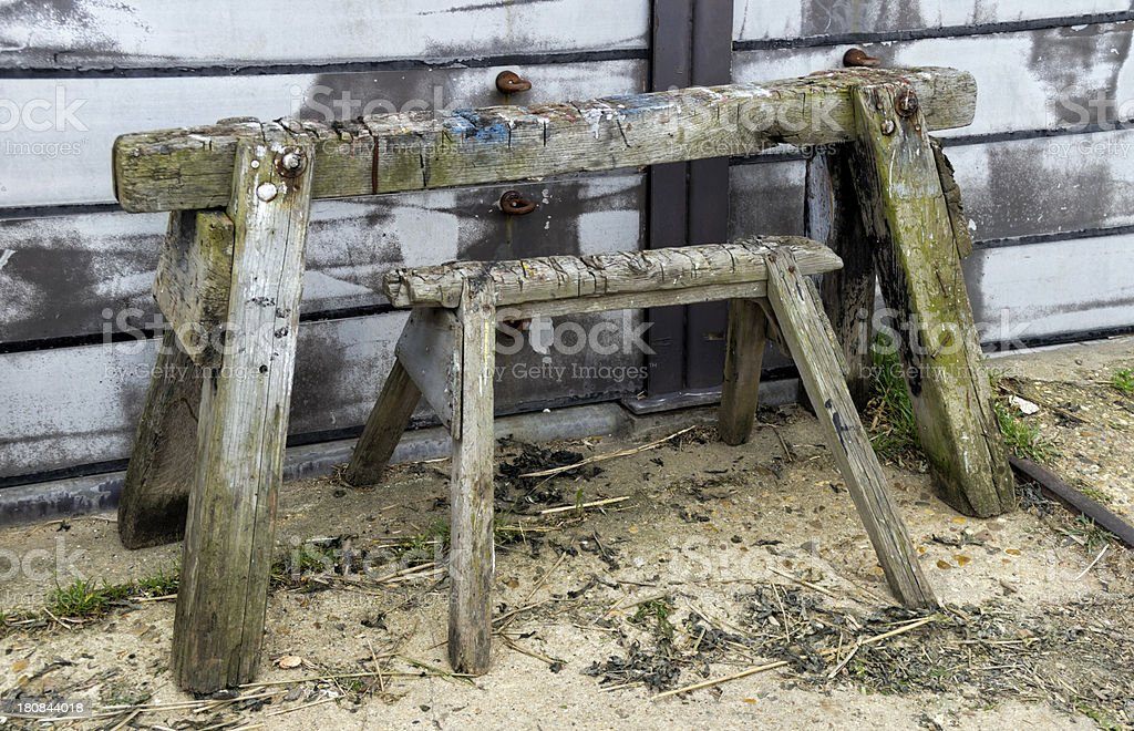 Two old sawhorses royalty-free stock photo