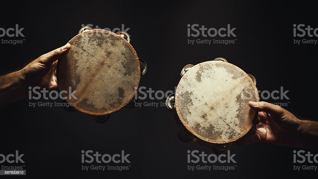 Two Old Tambourines stock photo