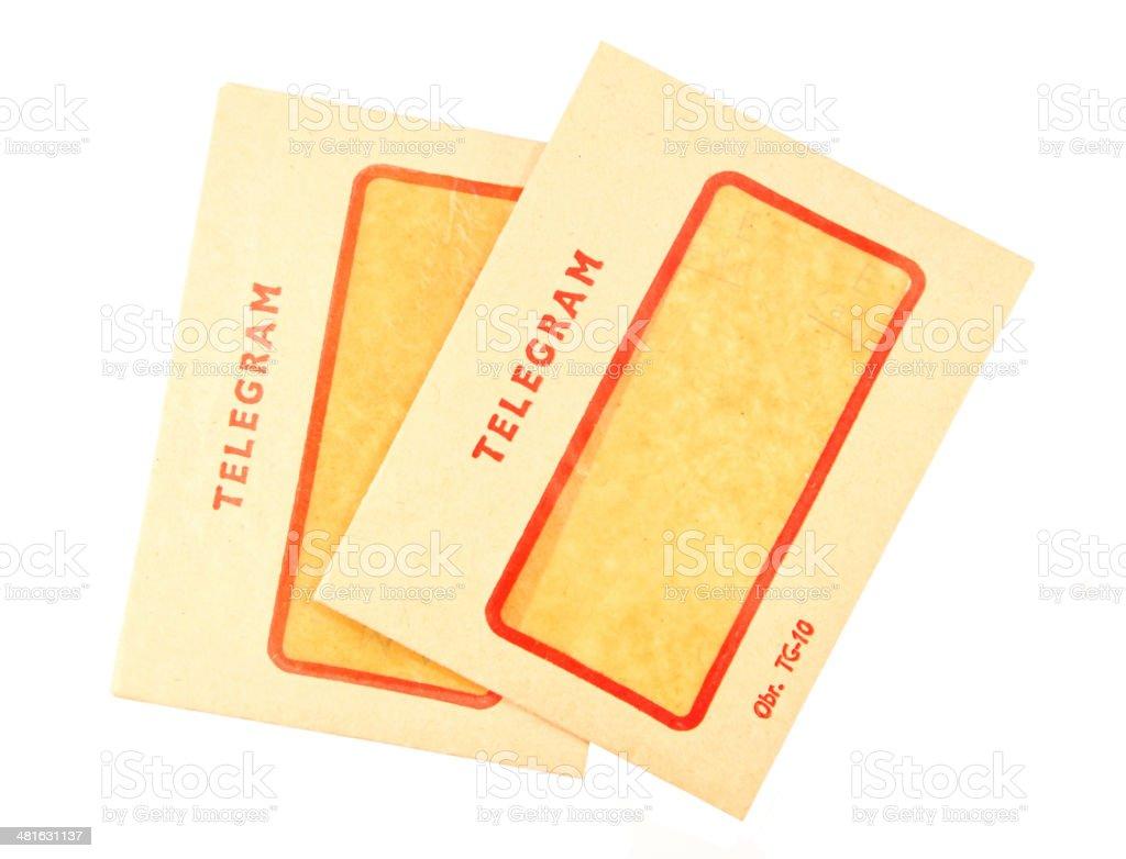 Two old telegram envelopes stock photo
