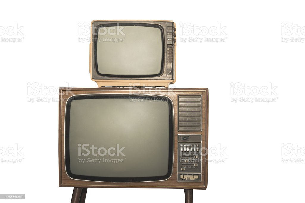 Two old television isolated on white background stock photo