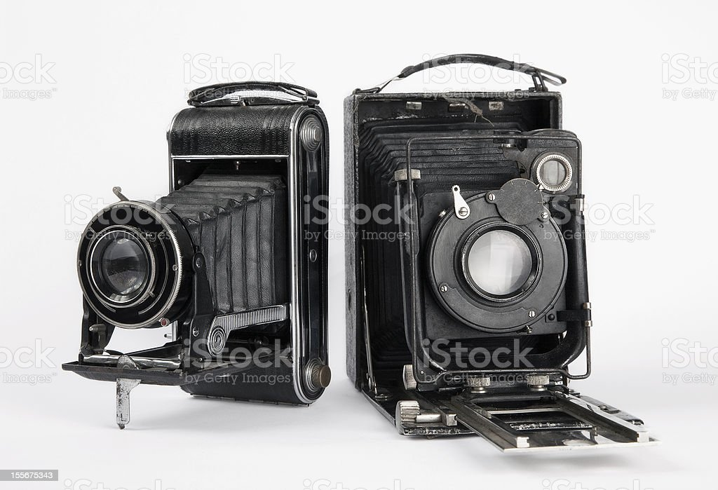 two old vintage camera stock photo