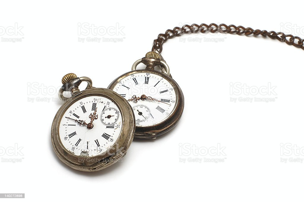 Two old watches isolated on white royalty-free stock photo