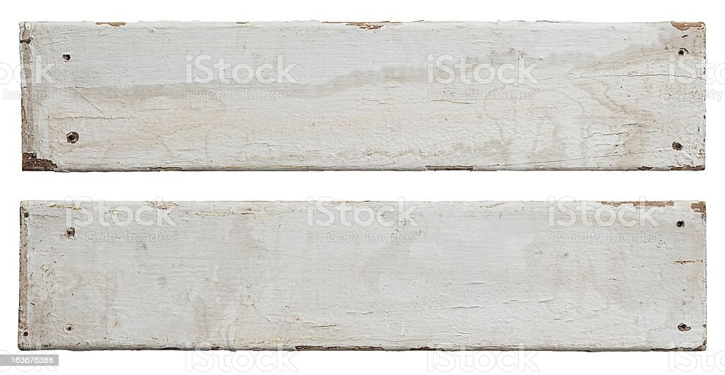 Two old white weathered wood boards. stock photo
